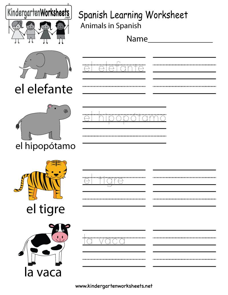 Spanish Learning Worksheet  Free Kindergarten Learning Worksheet Also Spanish For Adults Free Worksheets