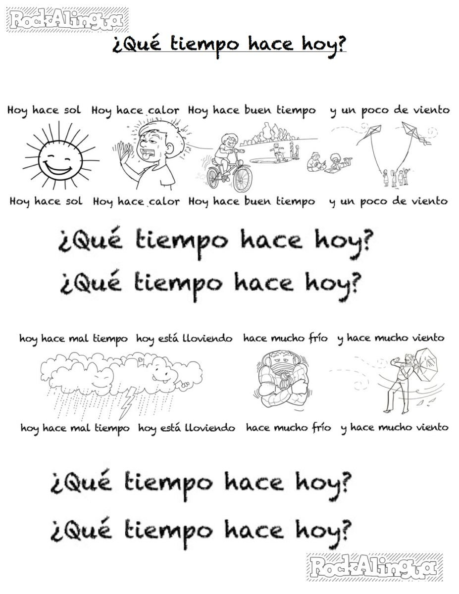 Spanish Weather Song For Kids Easy Level  Rockalingua Also Spanish Worksheets For Kids