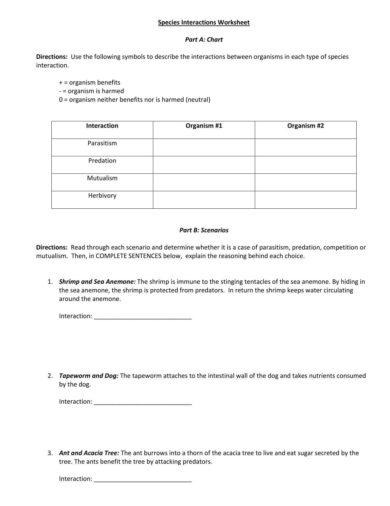 Species Interaction Worksheet Or Species Interactions Worksheet Answers