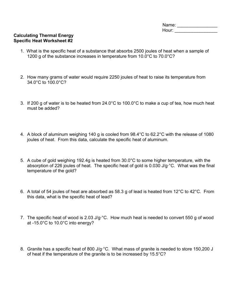Specific Heat Worksheet 2 And Heat Calculations Worksheet Answers