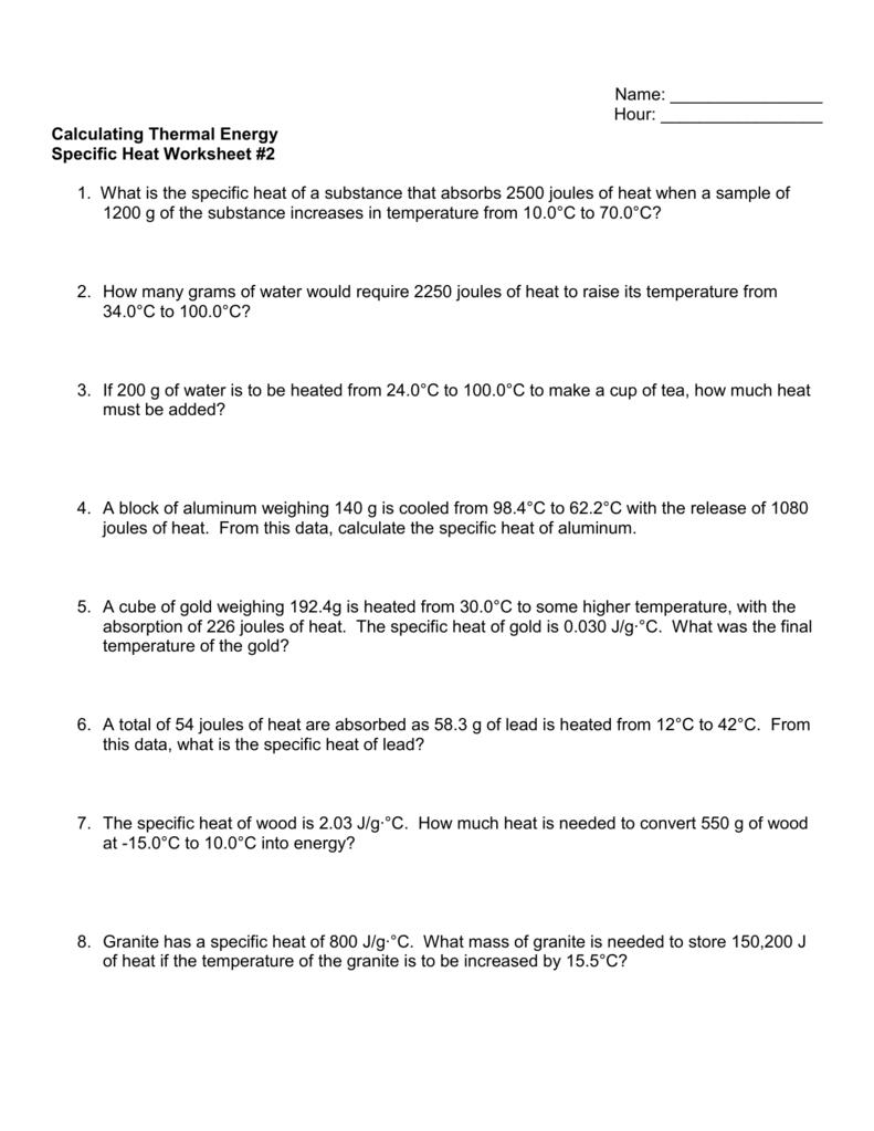 Specific Heat Worksheet 2 In Thermal Energy Temperature And Heat Worksheet