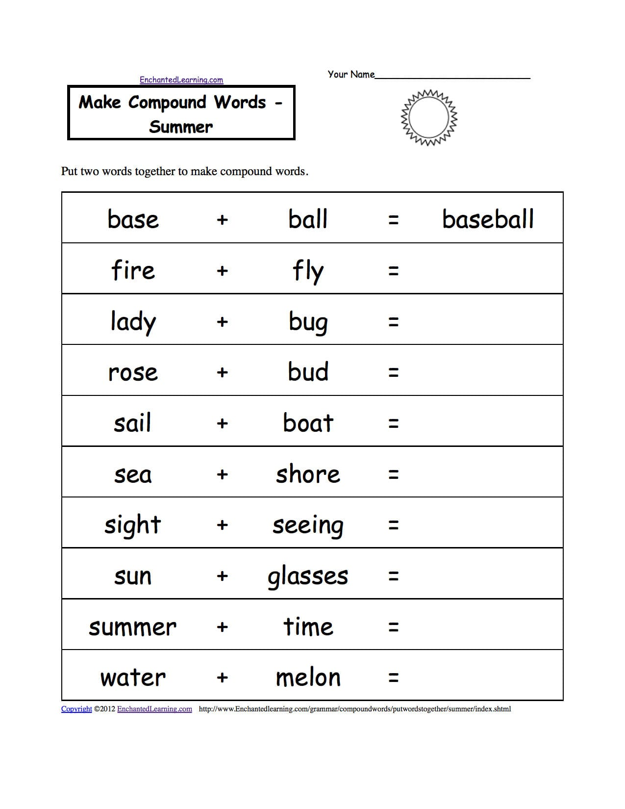 Spelling Worksheets Summer K3 Theme Page At Enchantedlearning For Spelling Word Worksheets