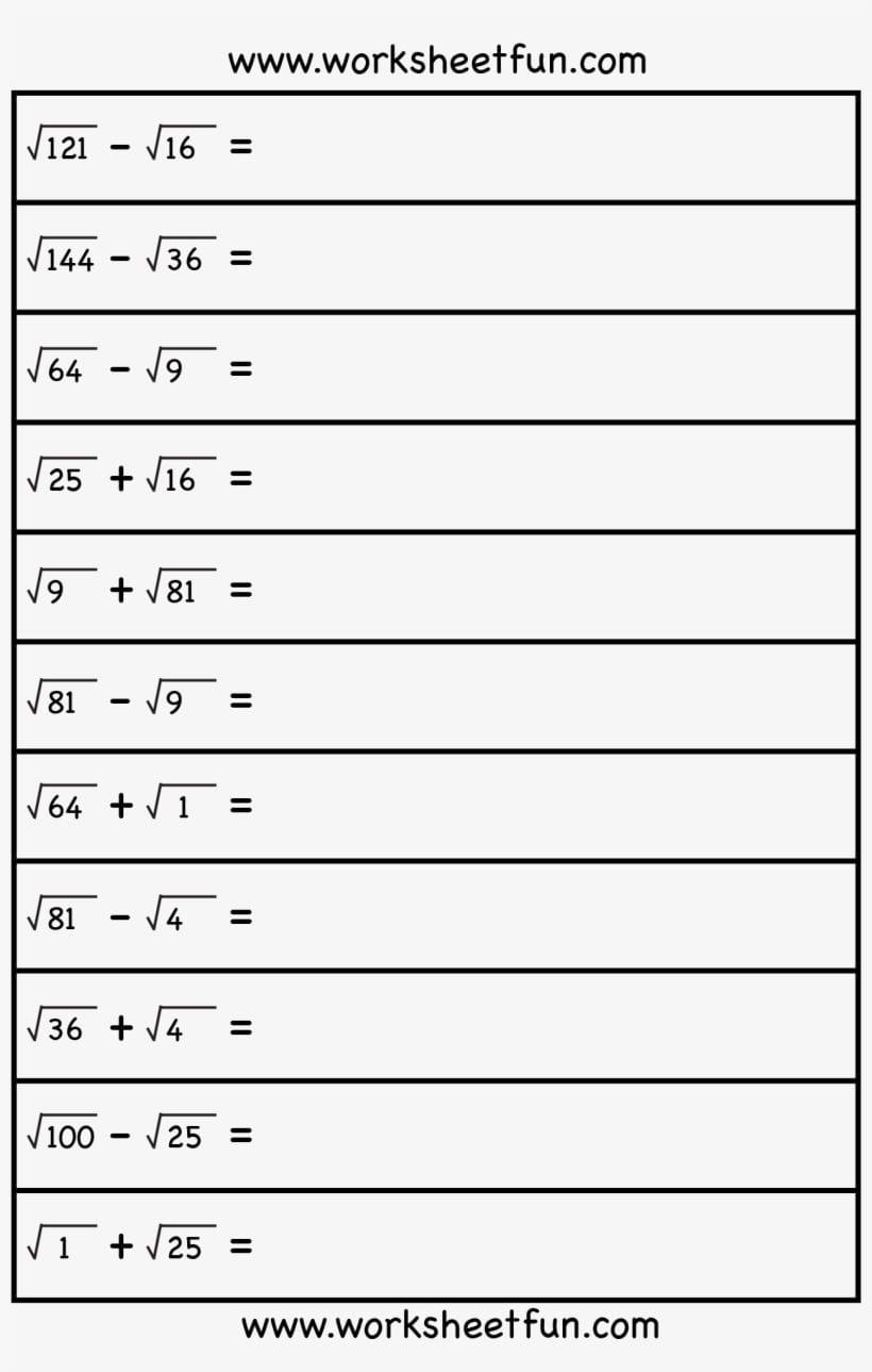 Square Root  8Th Grade Math Free Worksheets On Square Roots Png And Square Root Worksheets 8Th Grade