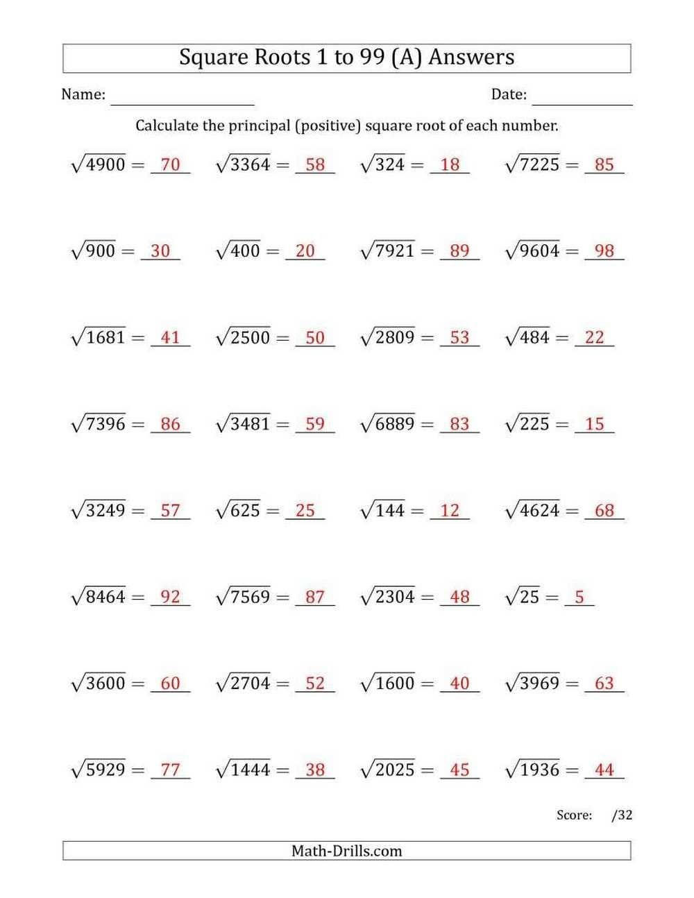 Square Root Worksheets 8Th Grade  Briefencounters Throughout Square Root Worksheets 8Th Grade