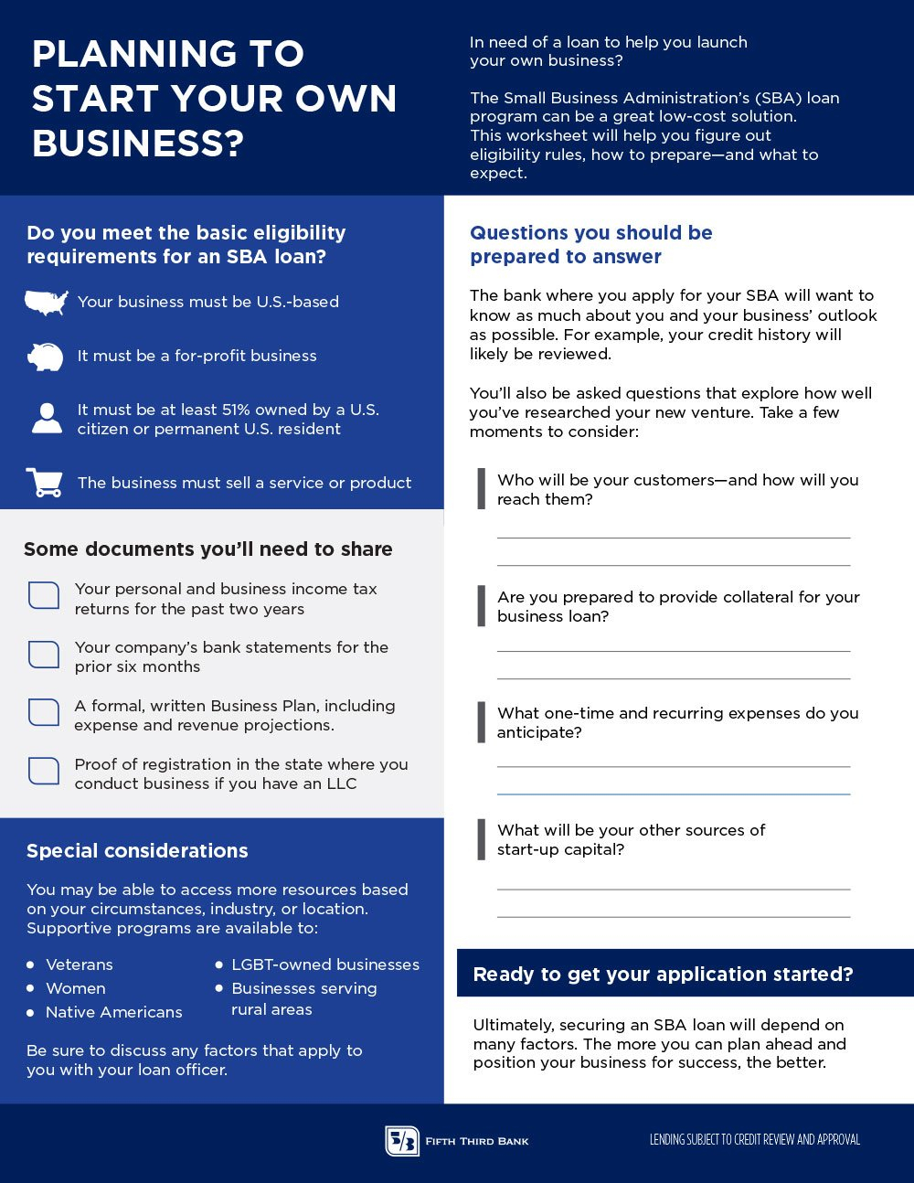 Start Your Own Business Worksheet  Fifth Third Bank Also Banks Credit And The Economy Worksheet Answers