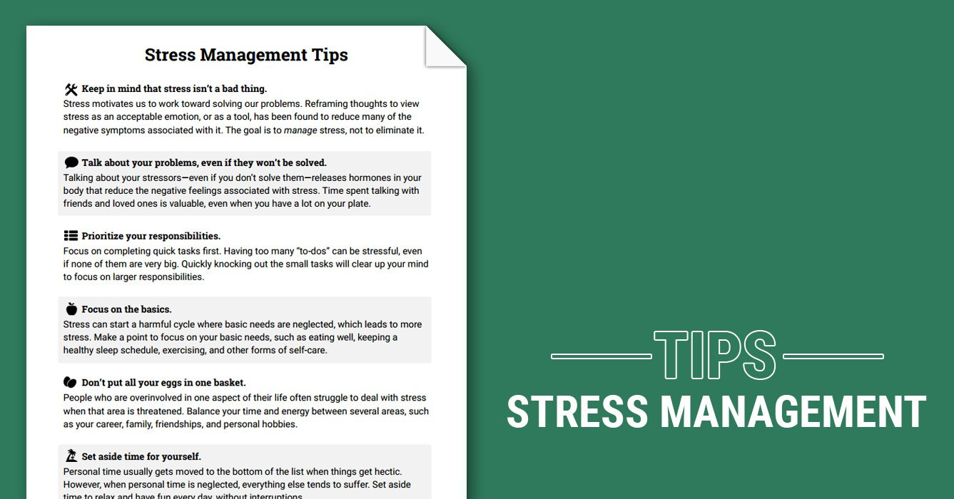 Stress Management Tips Worksheet  Therapist Aid Inside Stress Management Worksheets Pdf