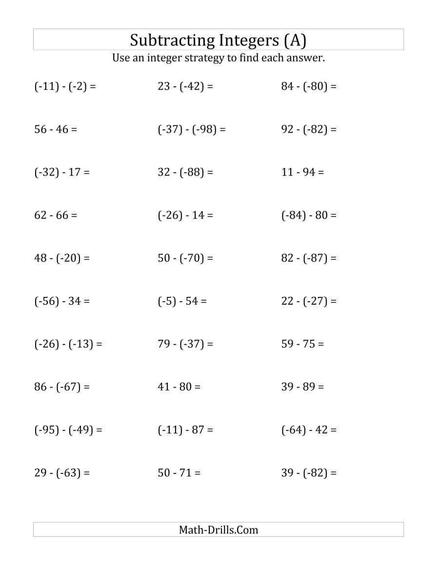 Subtracting Integers From 99 To 99 Negative Numbers In Along With Subtracting Integers Worksheet