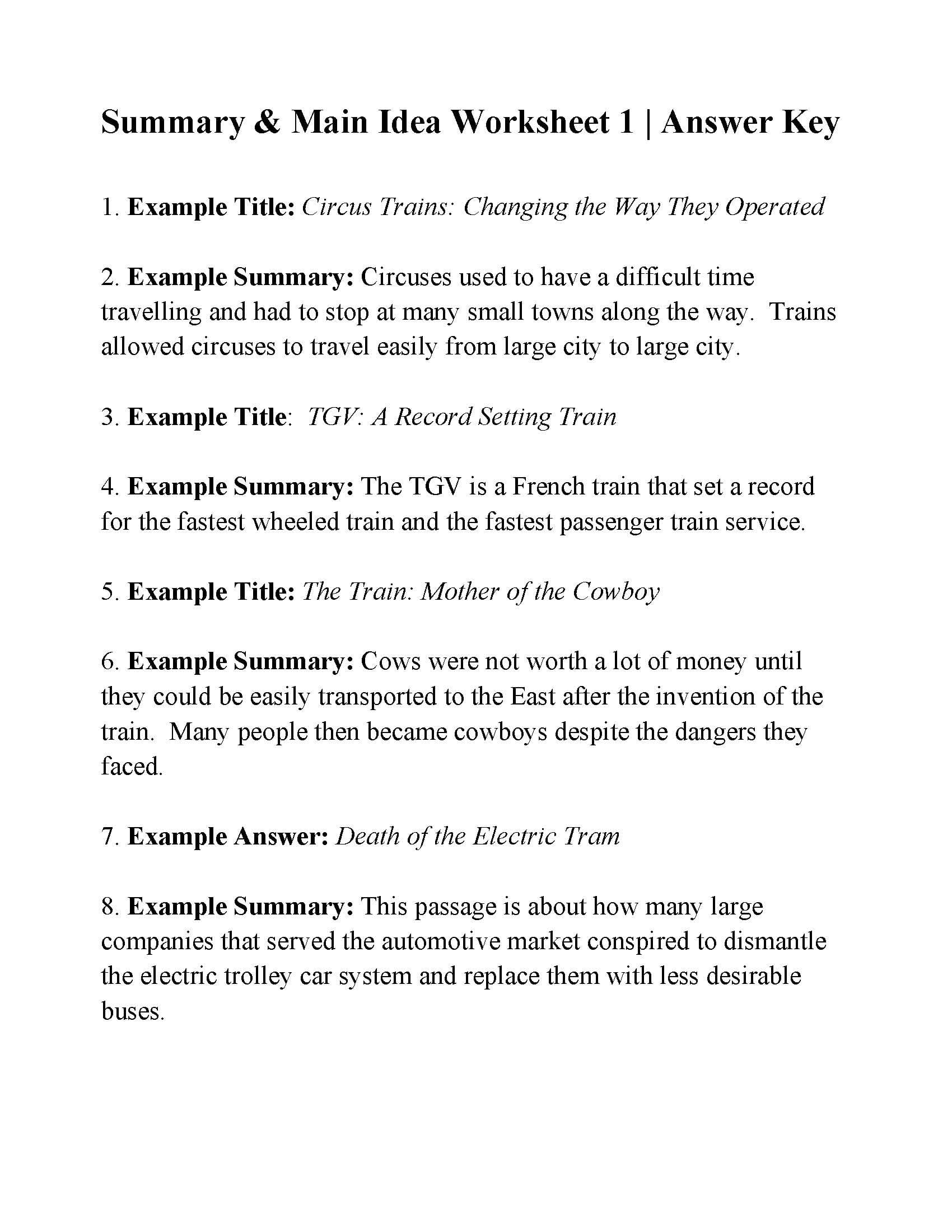 Summary And Main Idea Worksheet 1  Answers And Summarizing Worksheets Pdf