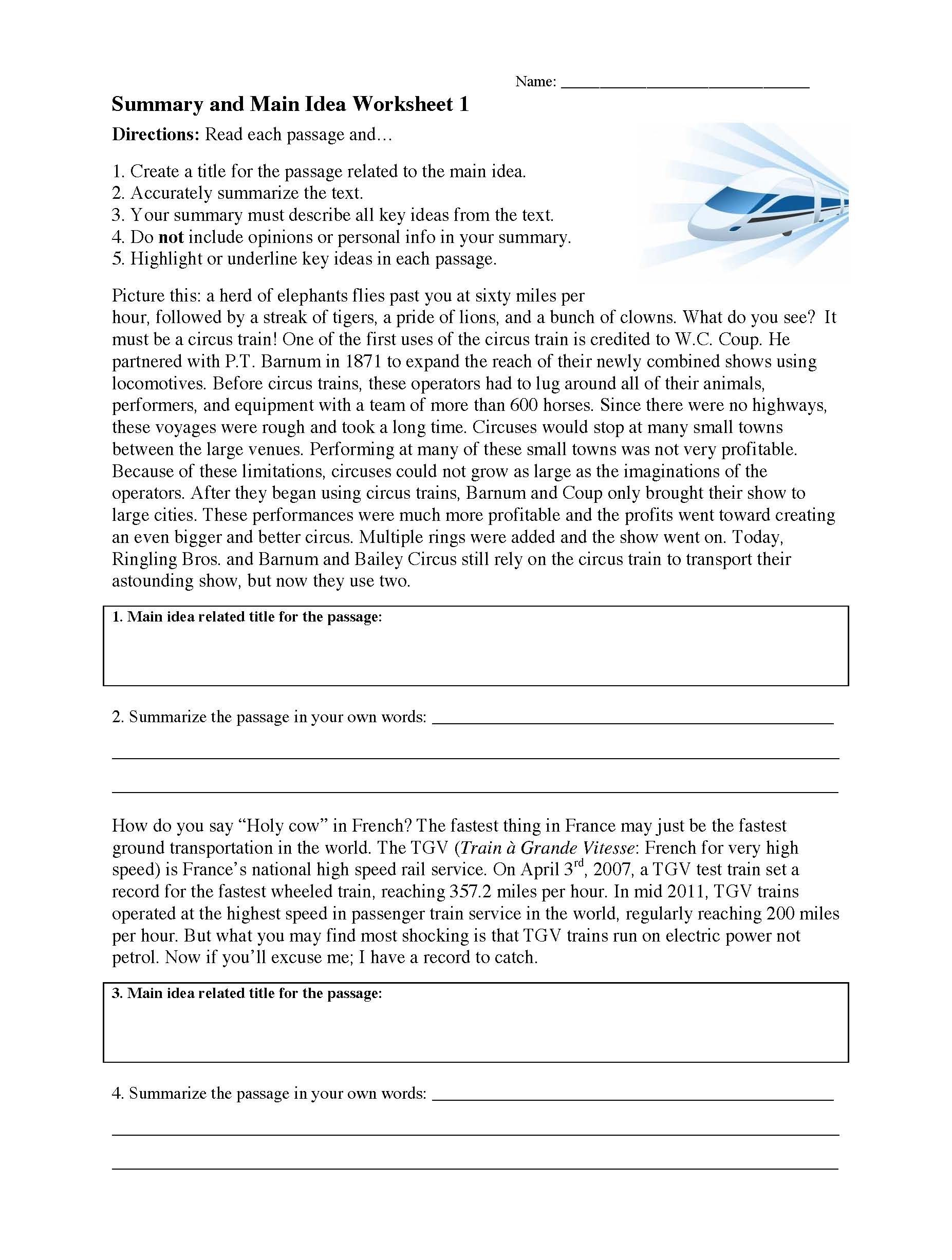 Summary And Main Idea Worksheet 1  Preview Inside Reading Comprehension Main Idea Worksheets