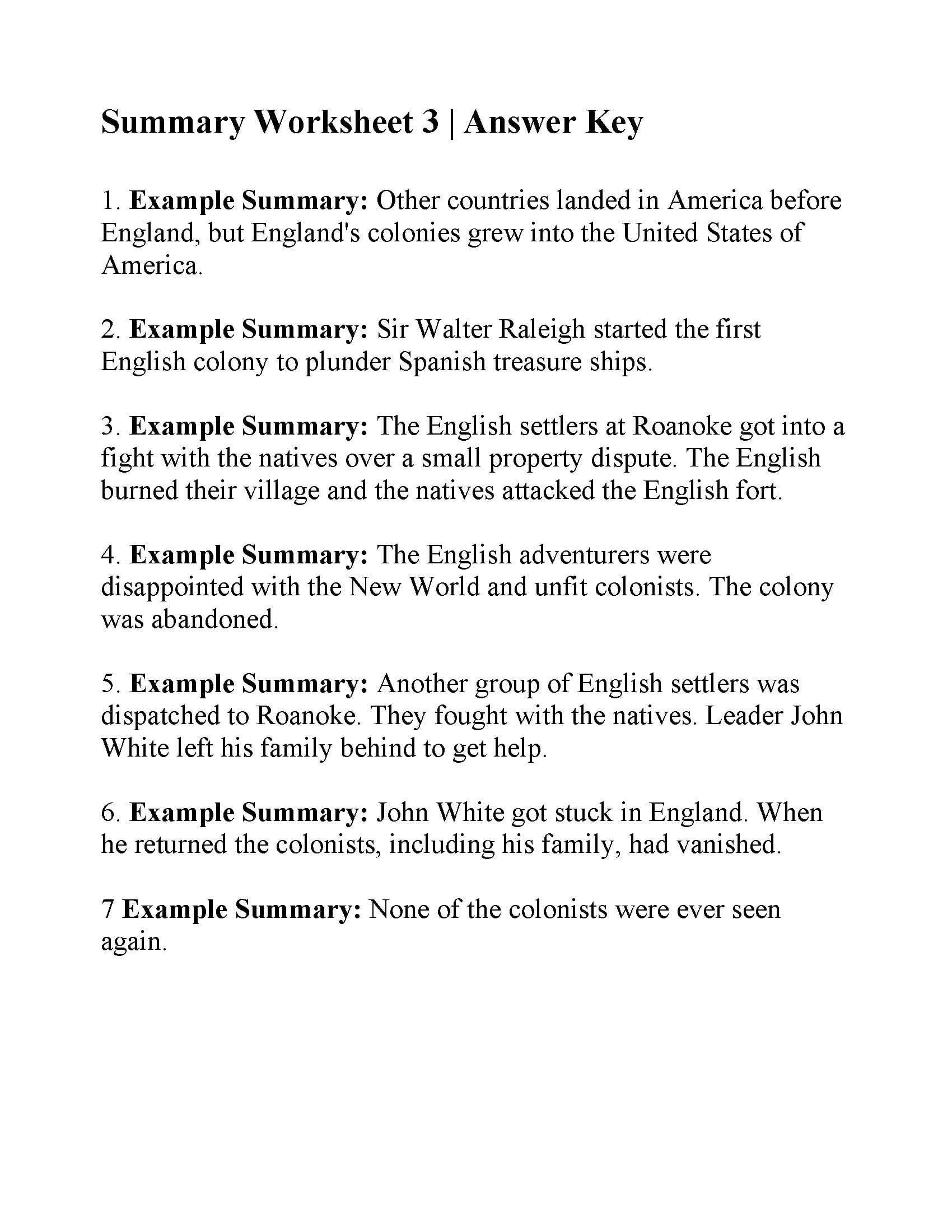 Summary Worksheet 3  Answers With Summarizing Worksheets Pdf