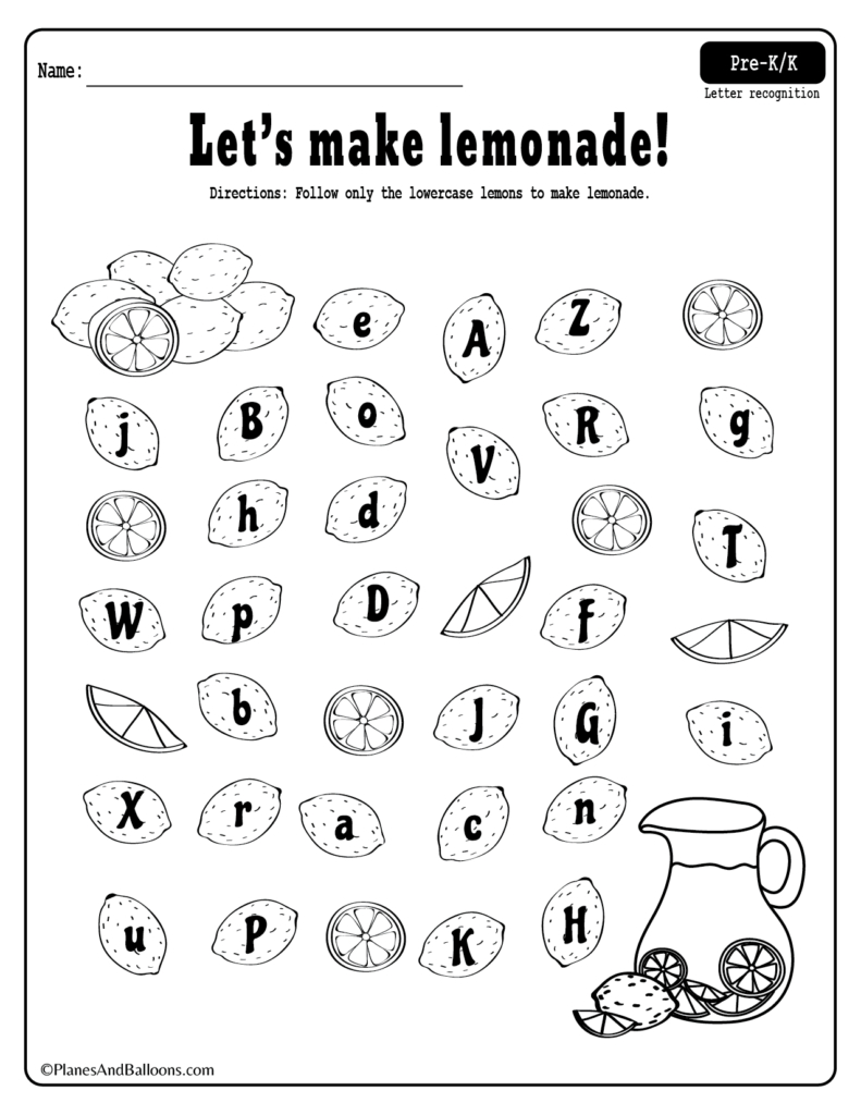 Summer Lemonade Fun Letter Recognition Worksheets Pdf Set For Free Along With Kindergarten Letter Recognition Worksheets