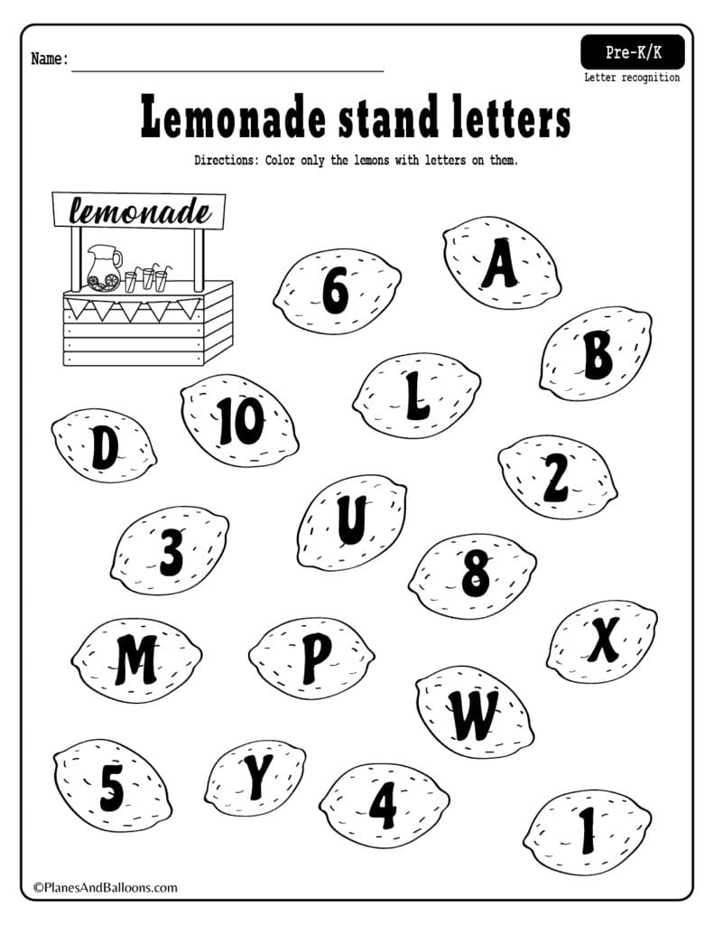 Summer Lemonade Fun Letter Recognition Worksheets Pdf Set For Free Regarding Kindergarten Letter Recognition Worksheets