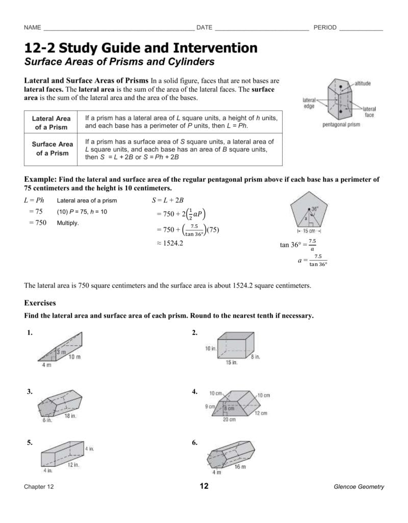 Surface Areas Of Prisms And Cylinders For Surface Area Of Prisms And Cylinders Worksheet Answers