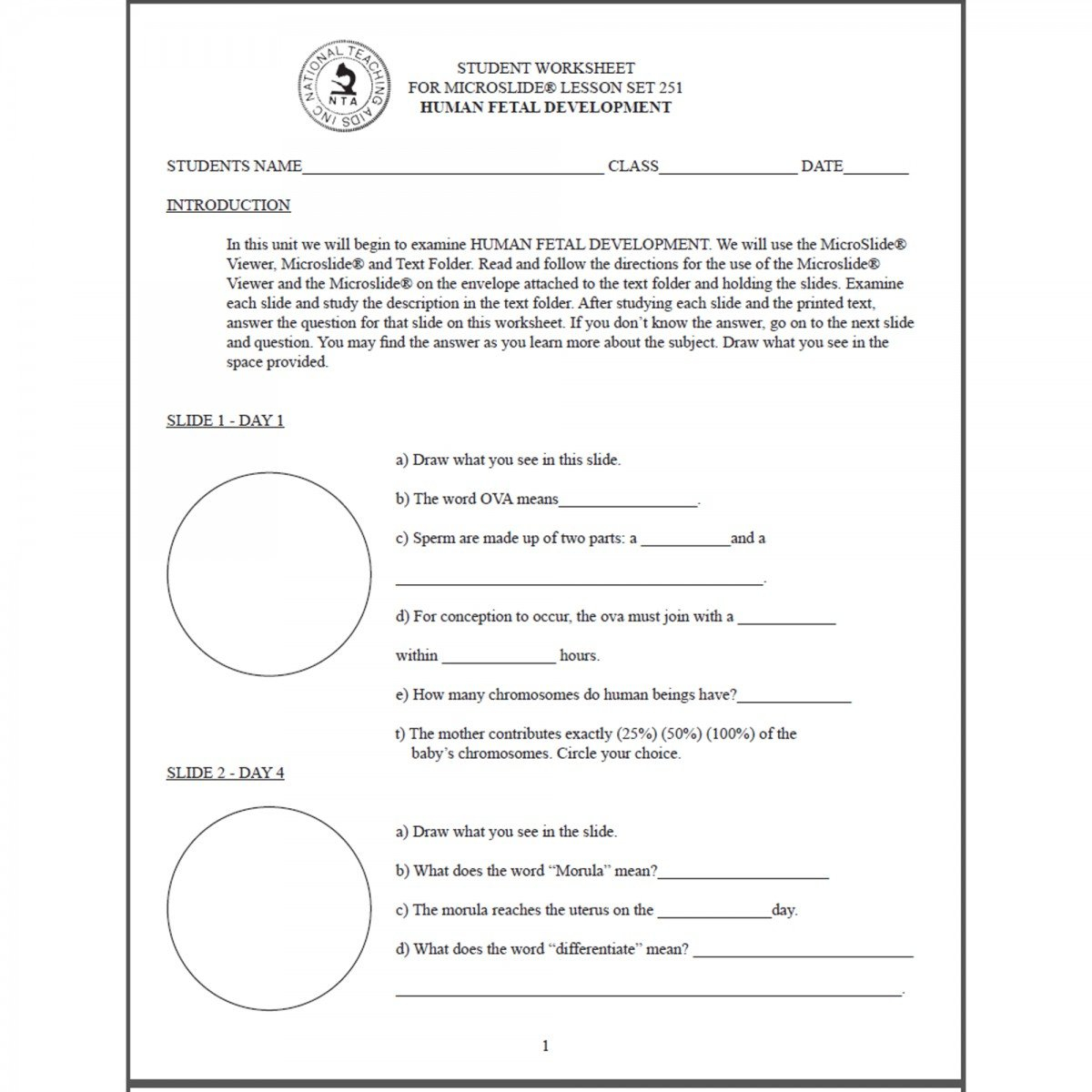 T251Ws  Worksheet Fetal Development Microslide 251 Inside Fetal Development Worksheet