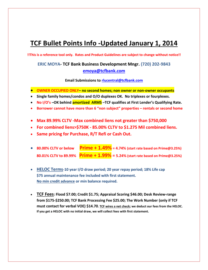 Tcf Bullet Points Info Updated January 1 2014 Pertaining To Tcf Heloc Worksheet