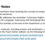 Teacher Notes Use This Powerpoint When Teaching The Concept Of Intended For Compound And Complex Sentences Worksheet