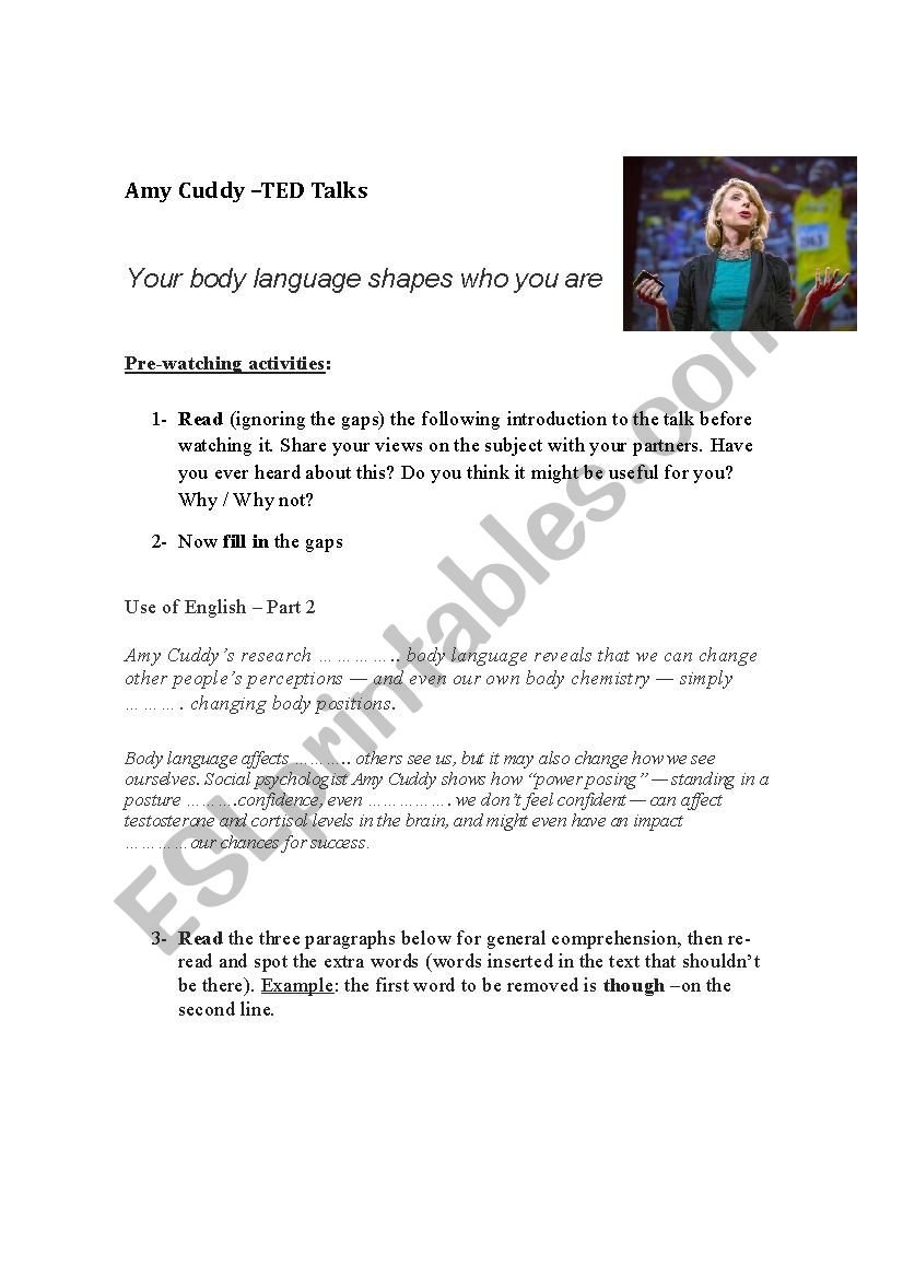 Ted Talks  Amy Cuddy  Ted Talk Body Language And Personality Also Ted Talk Worksheet