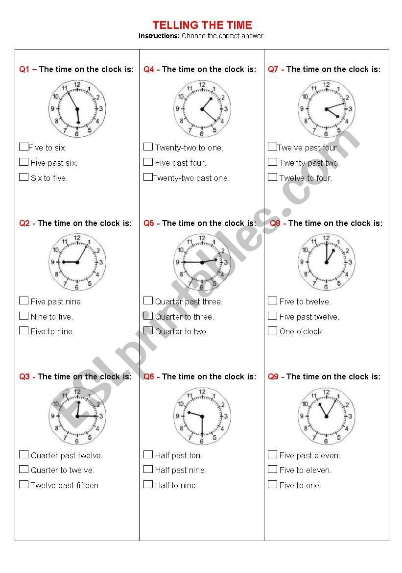 Telling The Time Quiz  Esl Worksheetyeda Within Clock Quiz Worksheet