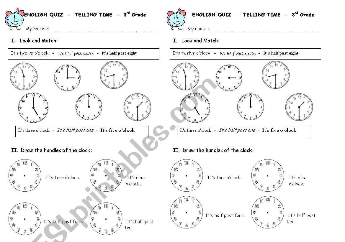 Telling Time Quiz  Esl Worksheetleslie Along With Clock Quiz Worksheet