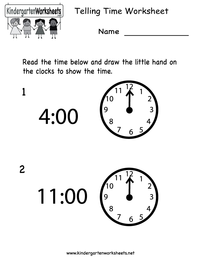 Telling Time Worksheet  Free Kindergarten Math Worksheet For Kids Throughout Telling Time In Spanish Worksheets Pdf
