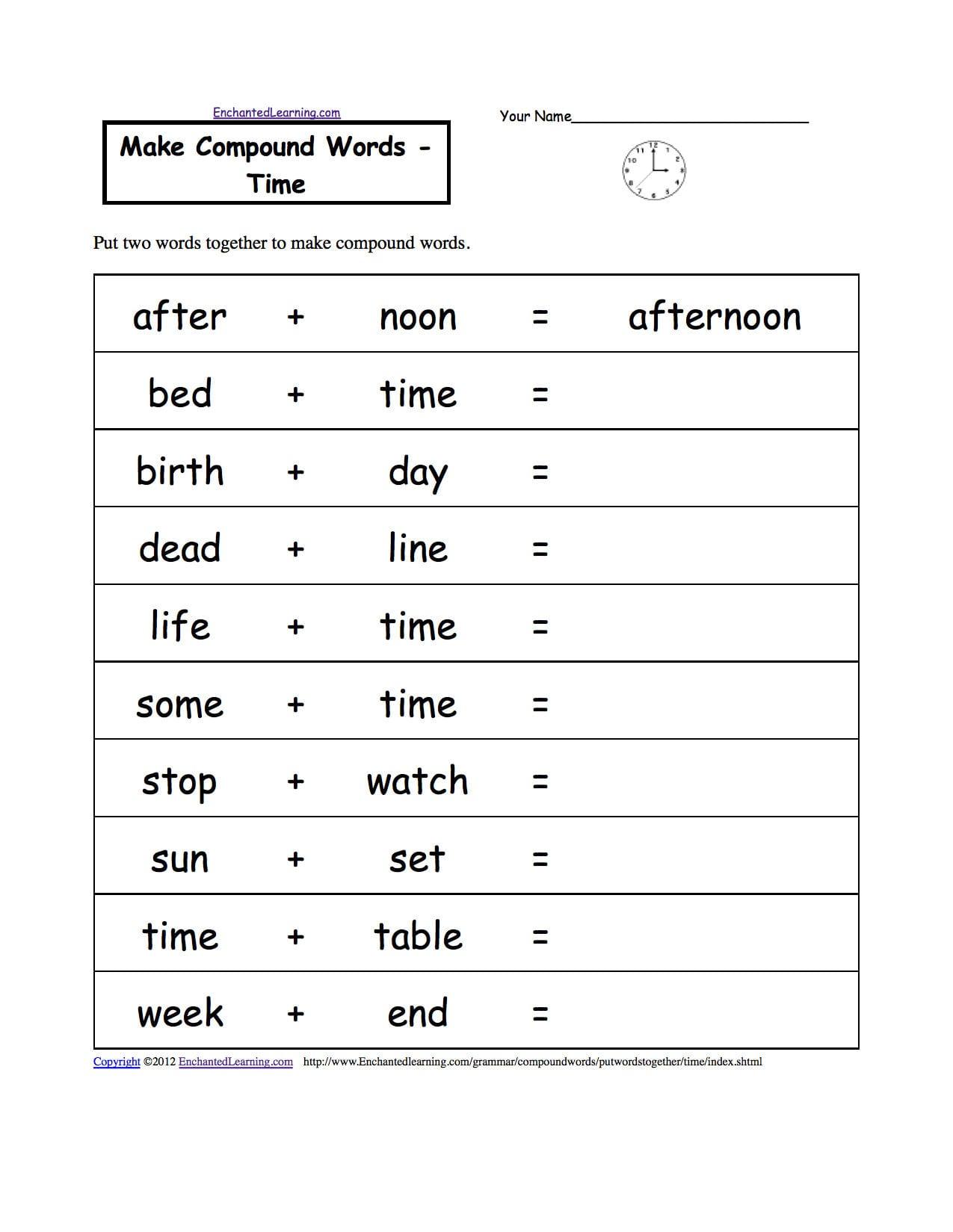 Telling Time  Worksheets Enchantedlearning Pertaining To Spanish Clock Worksheet Answers