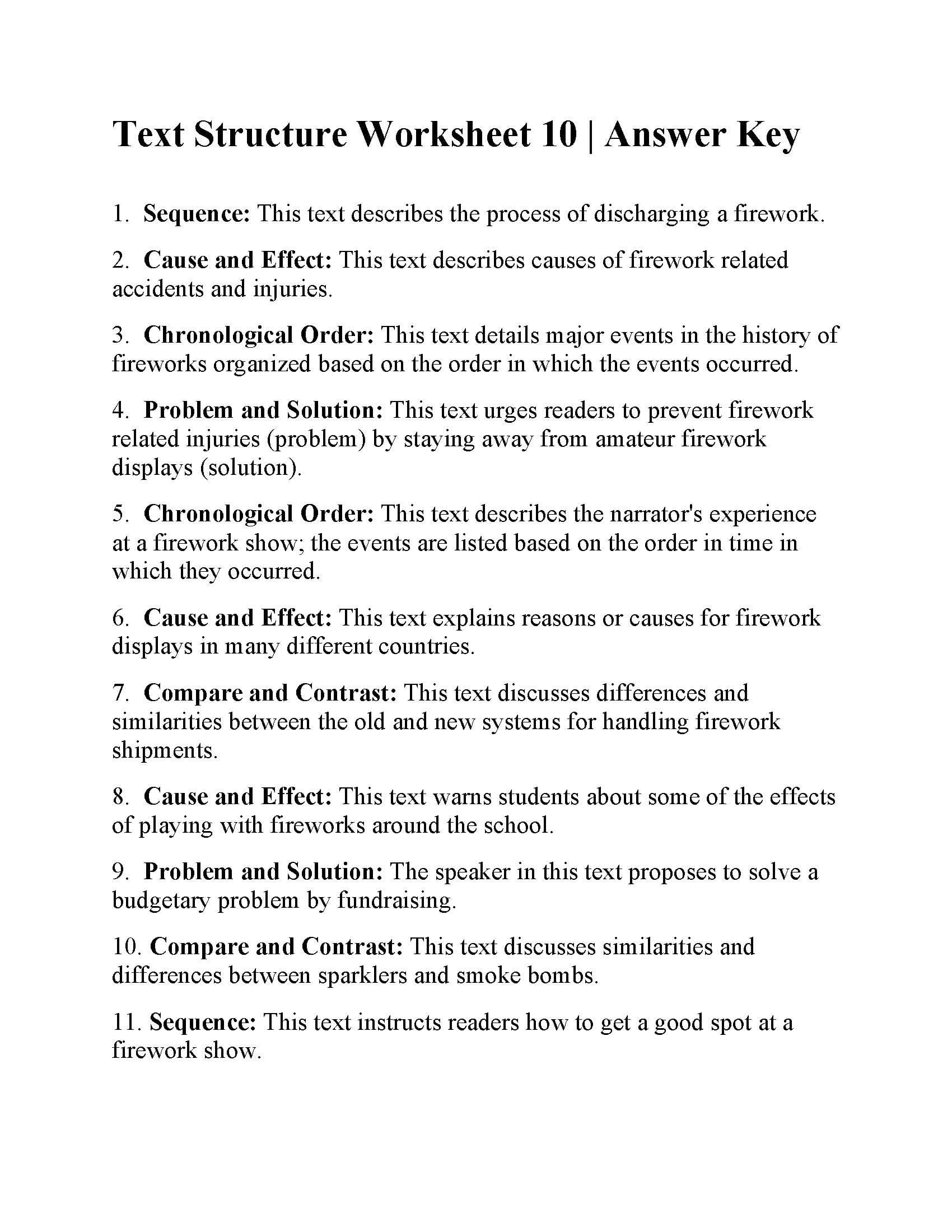 Text Structure Worksheet 10  Answers Together With Nonfiction Text Structures Worksheet