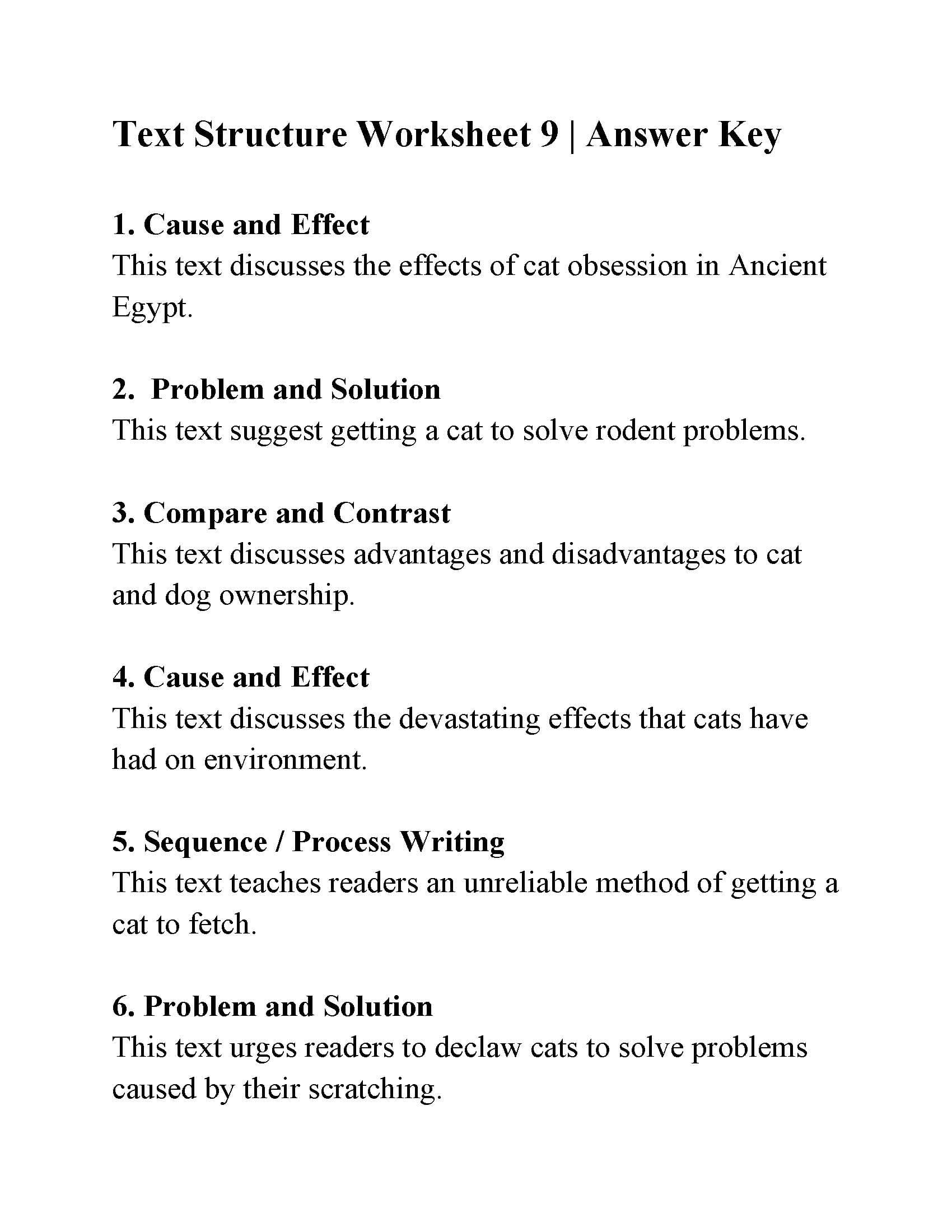 Text Structure Worksheet 9  Answers As Well As Nonfiction Text Structures Worksheet