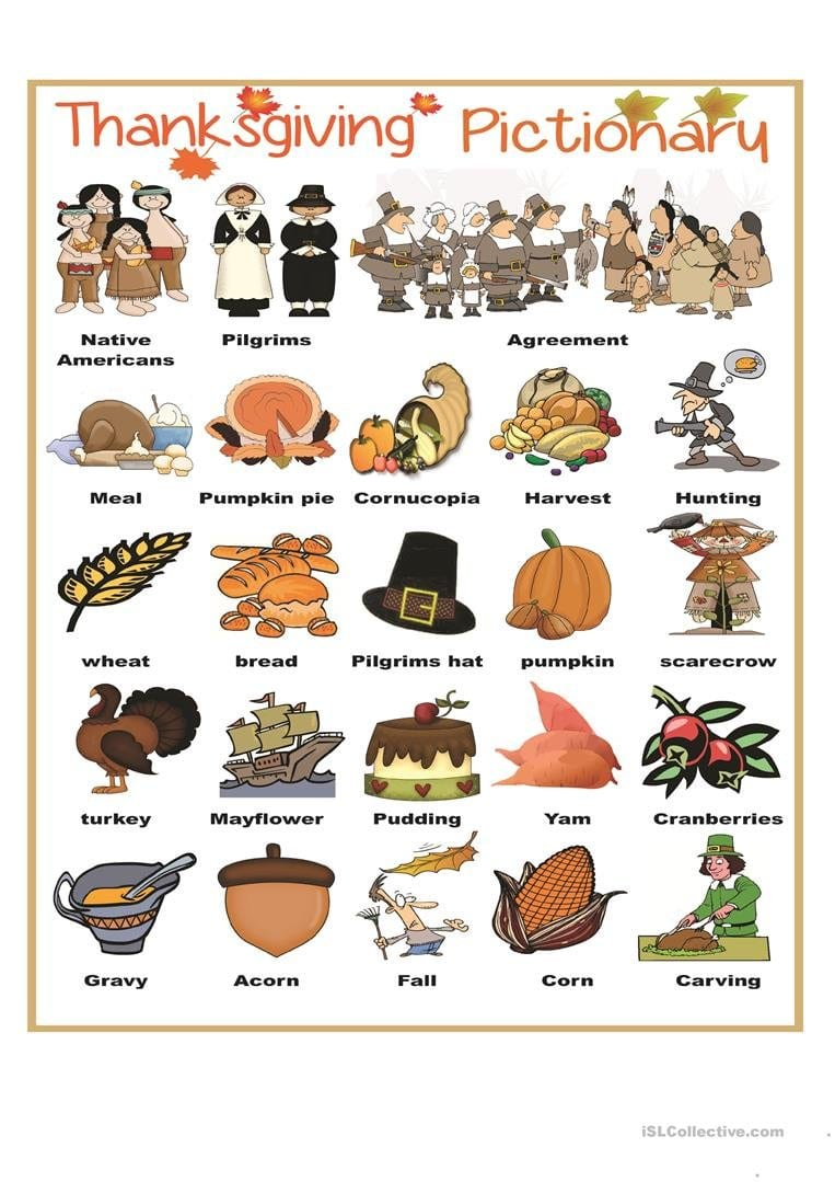 Thanksgiving Pictionary Worksheet  Free Esl Printable Worksheets Regarding Esl Thanksgiving Worksheets Adults