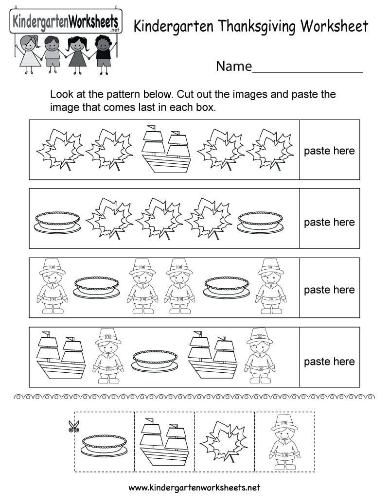 Thanksgiving Worksheet  Free Kindergarten Holiday Worksheet For Kids Pertaining To Thanksgiving Worksheets For Preschoolers