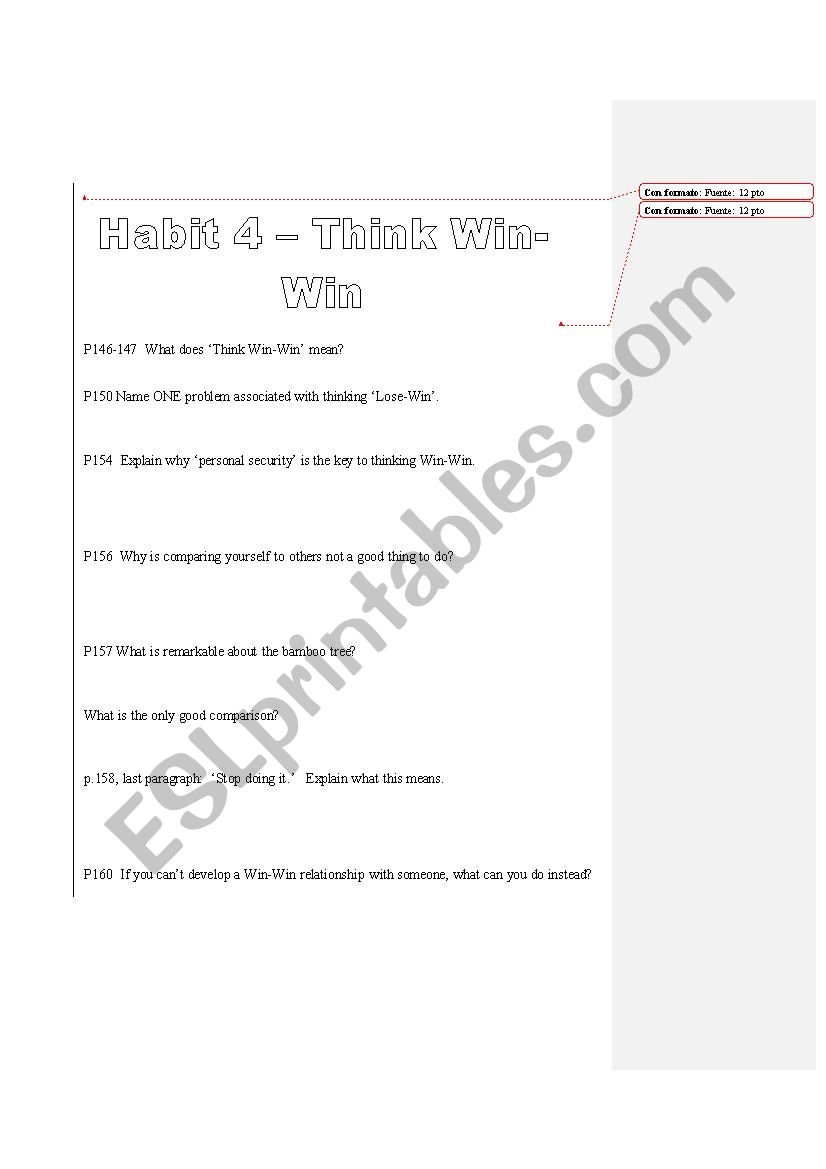 The 7 Habits Of Highly Effective Teens  Esl Worksheets Habit 4 In 7 Habits Of Highly Effective Teens Worksheets