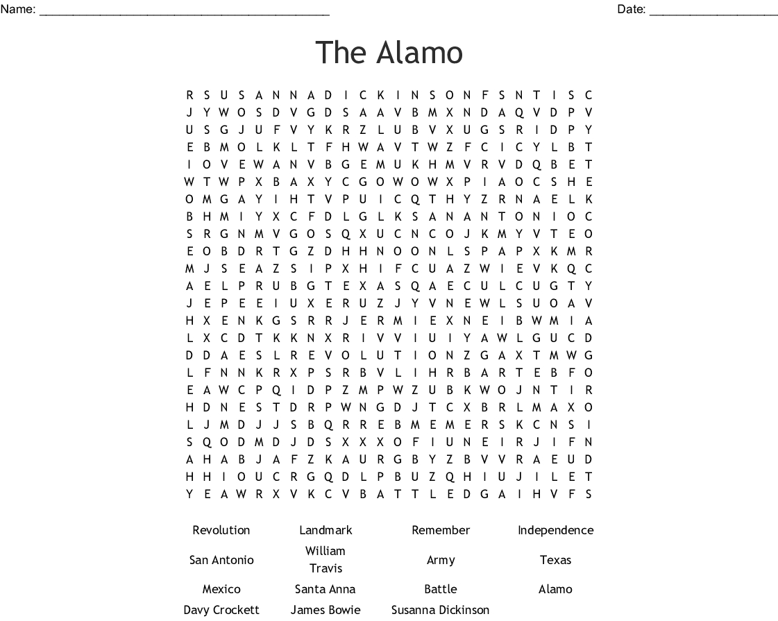 The Battle Of The Alamo Word Search  Wordmint In The Alamo Worksheet Answers