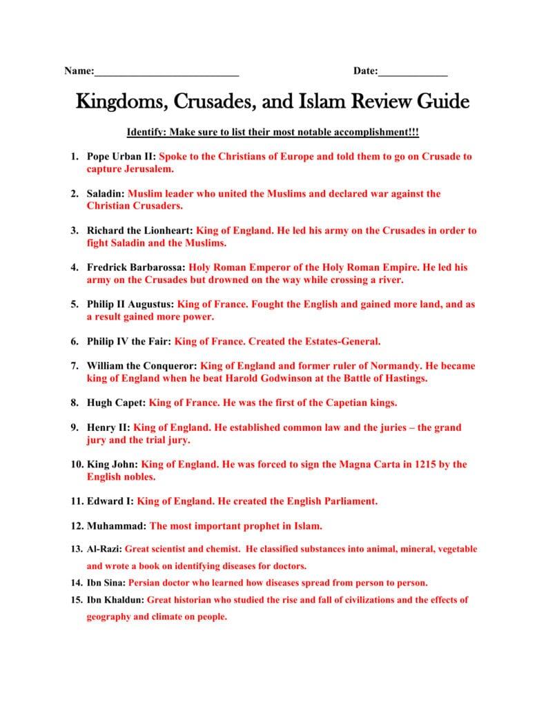 The Crusades Inside The Crusades Worksheet