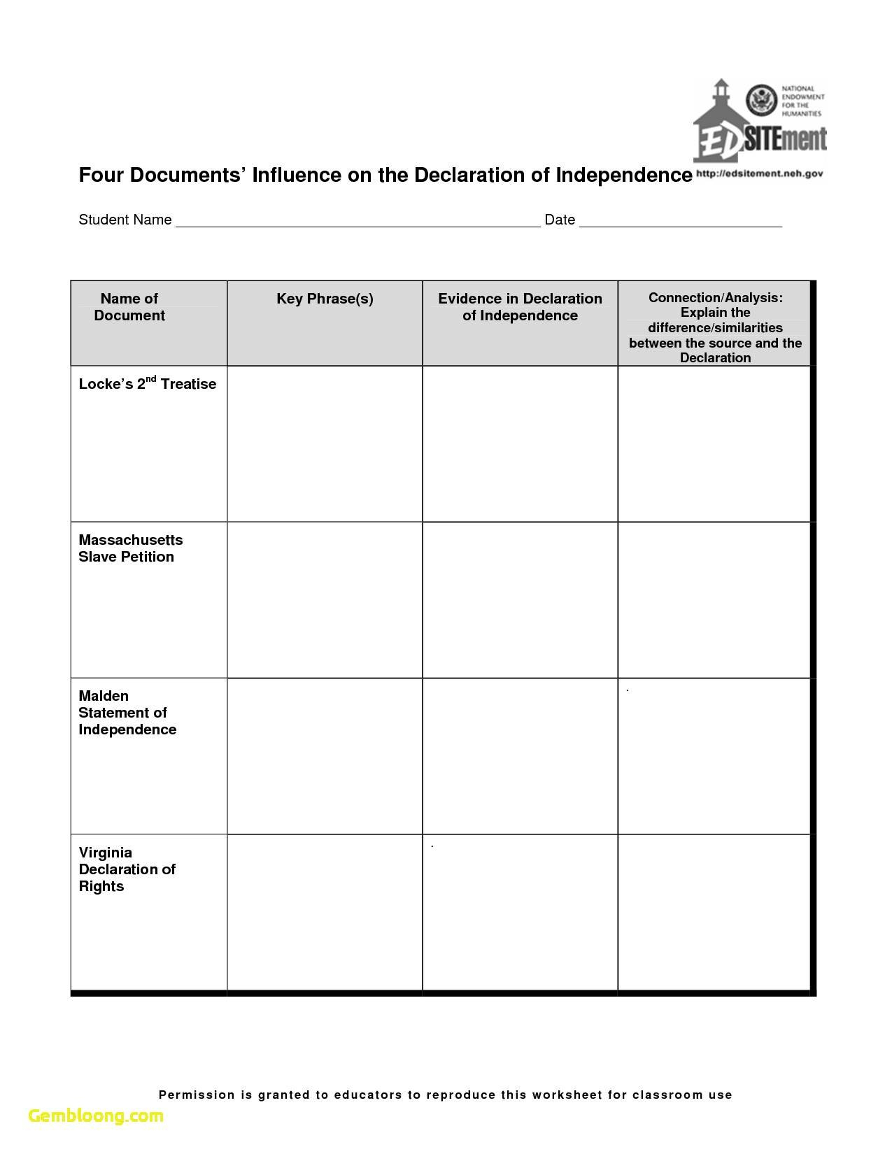 The Declaration Of Independence Worksheet  Cramerforcongress Together With Declaration Of Independence Worksheet Answers