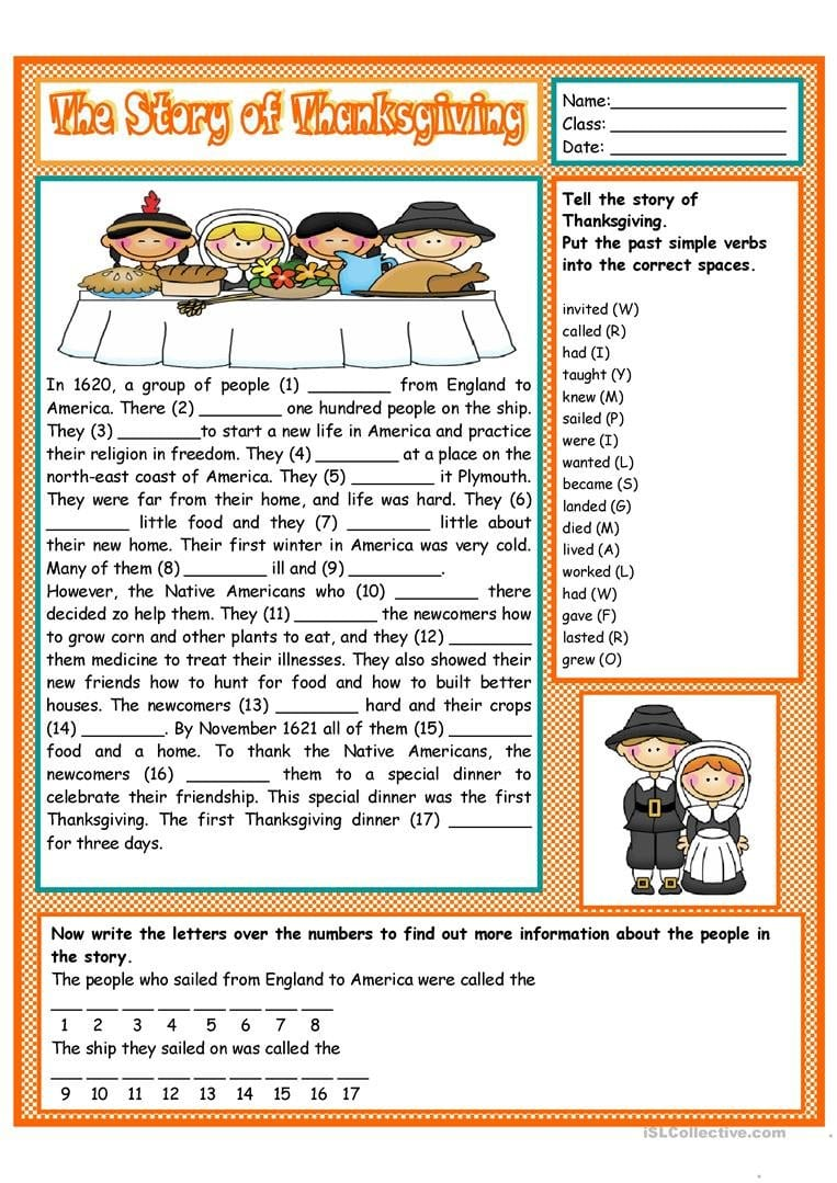 The Story Of Thanksgiving Worksheet  Free Esl Printable Worksheets With Esl Thanksgiving Worksheets Adults