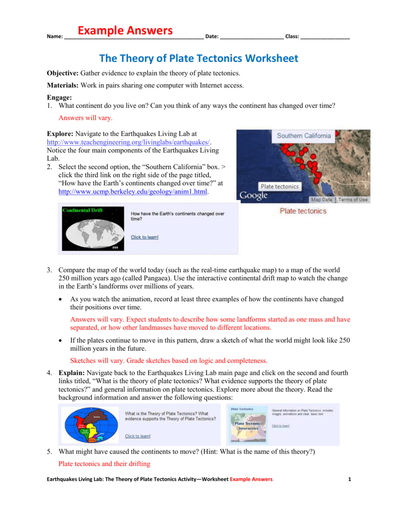 The Theory Of Plate Tectonics Worksheet Example Answers With Plate Tectonics Worksheet Answer Key