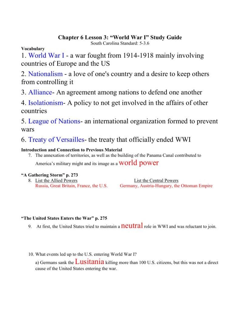 The United States Entered World War 1 Worksheet Answers  Yooob Also The United States Entered World War 1 Worksheet Answers