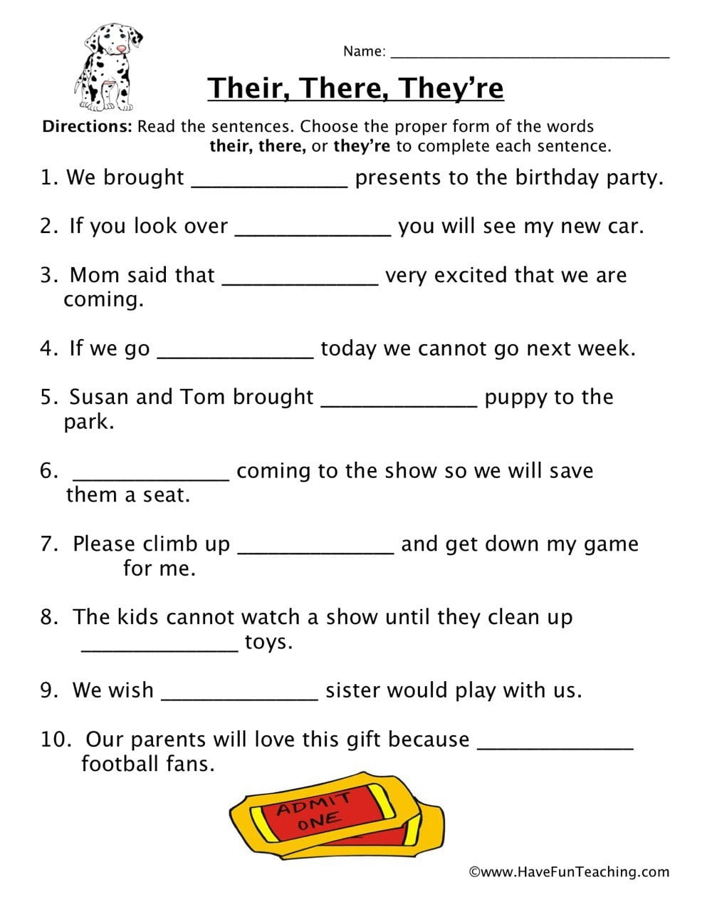 Their There They're Homophones Worksheet  Have Fun Teaching Together With There Their And They Re Worksheet