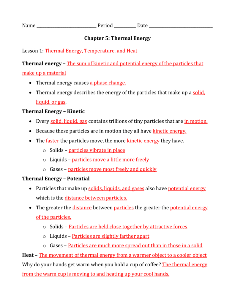 Thermal Energy And Thermal Energy Temperature And Heat Worksheet