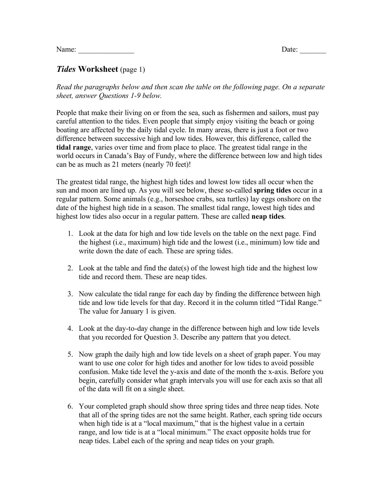 Tides Worksheet For Graphing The Tides Worksheet Answers