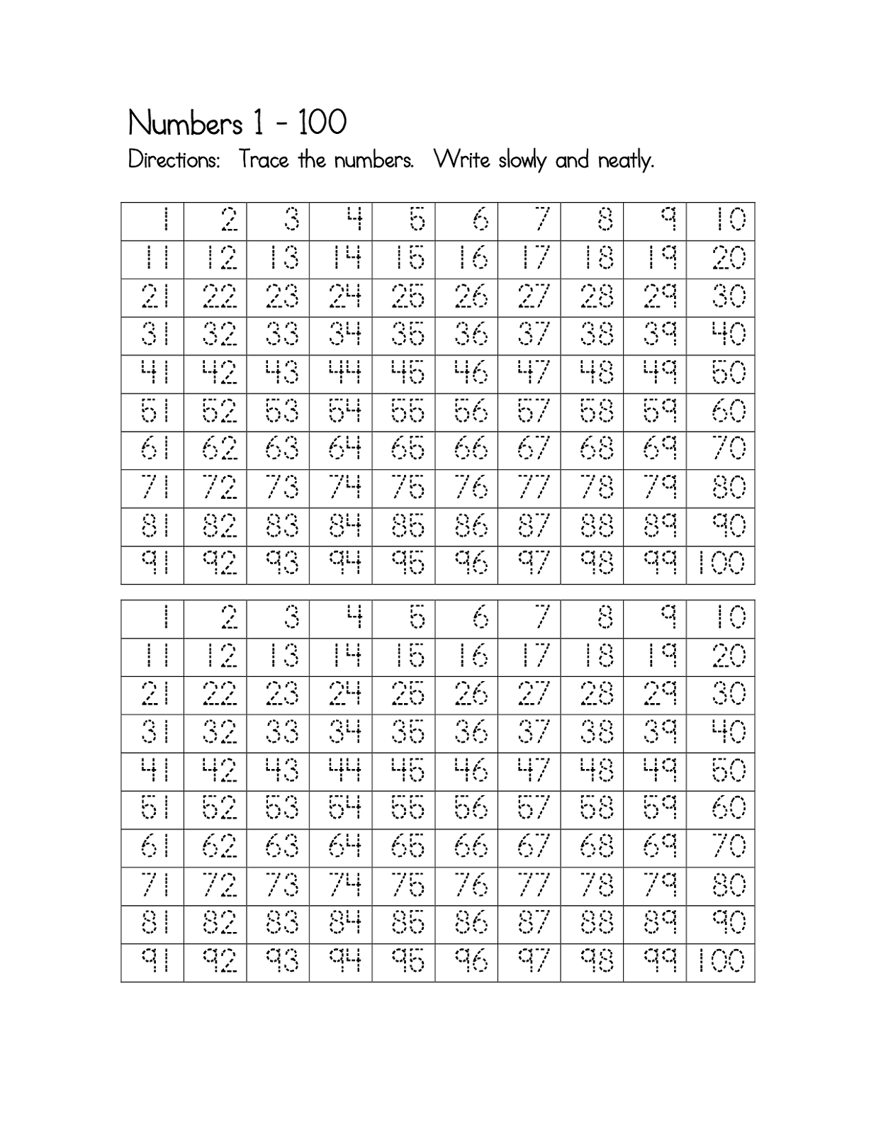 Trace Numbers 1100  Activity Shelter Also Number Tracing Worksheets 1 100