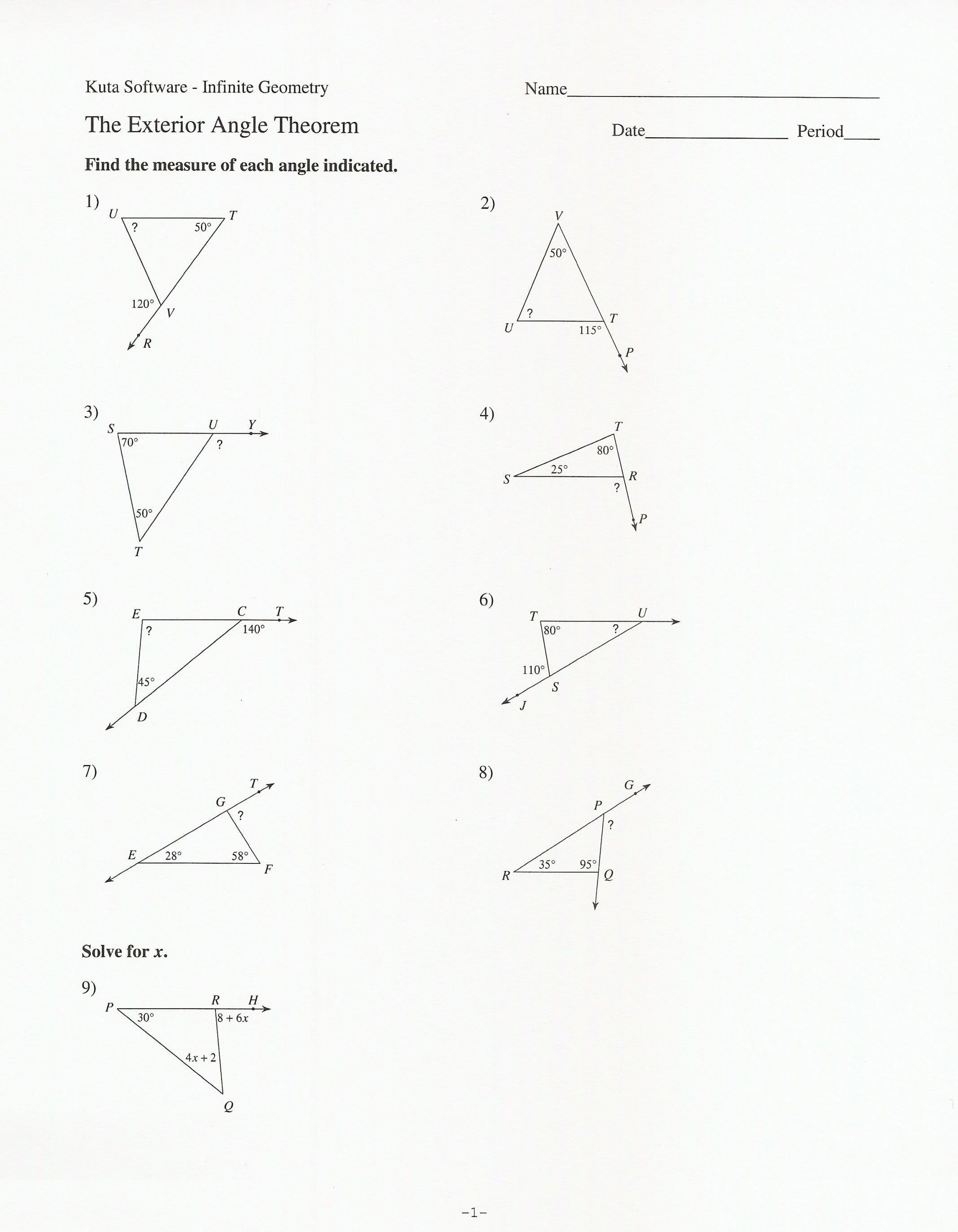 Triangle Angle Sum Theorem C Triangle Sum And Exterior Angle Theorem Along With Triangle Sum And Exterior Angle Theorem Worksheet
