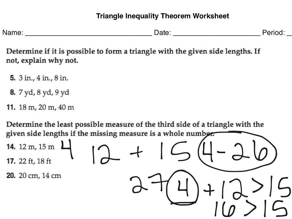 Triangle Inequality Theorem Worksheet  Math  Showme Together With Triangle Inequality Worksheet