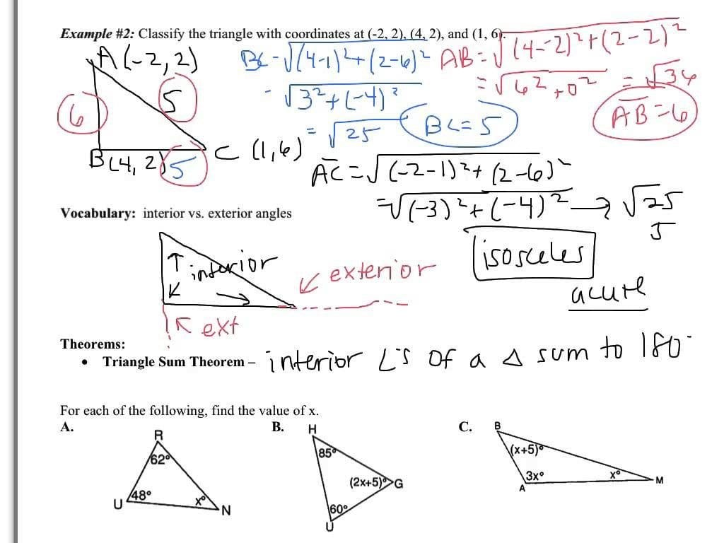 Triangle Sum And Exterior Angle Theorem Worksheet For Triangle Sum And Exterior Angle Theorem Worksheet
