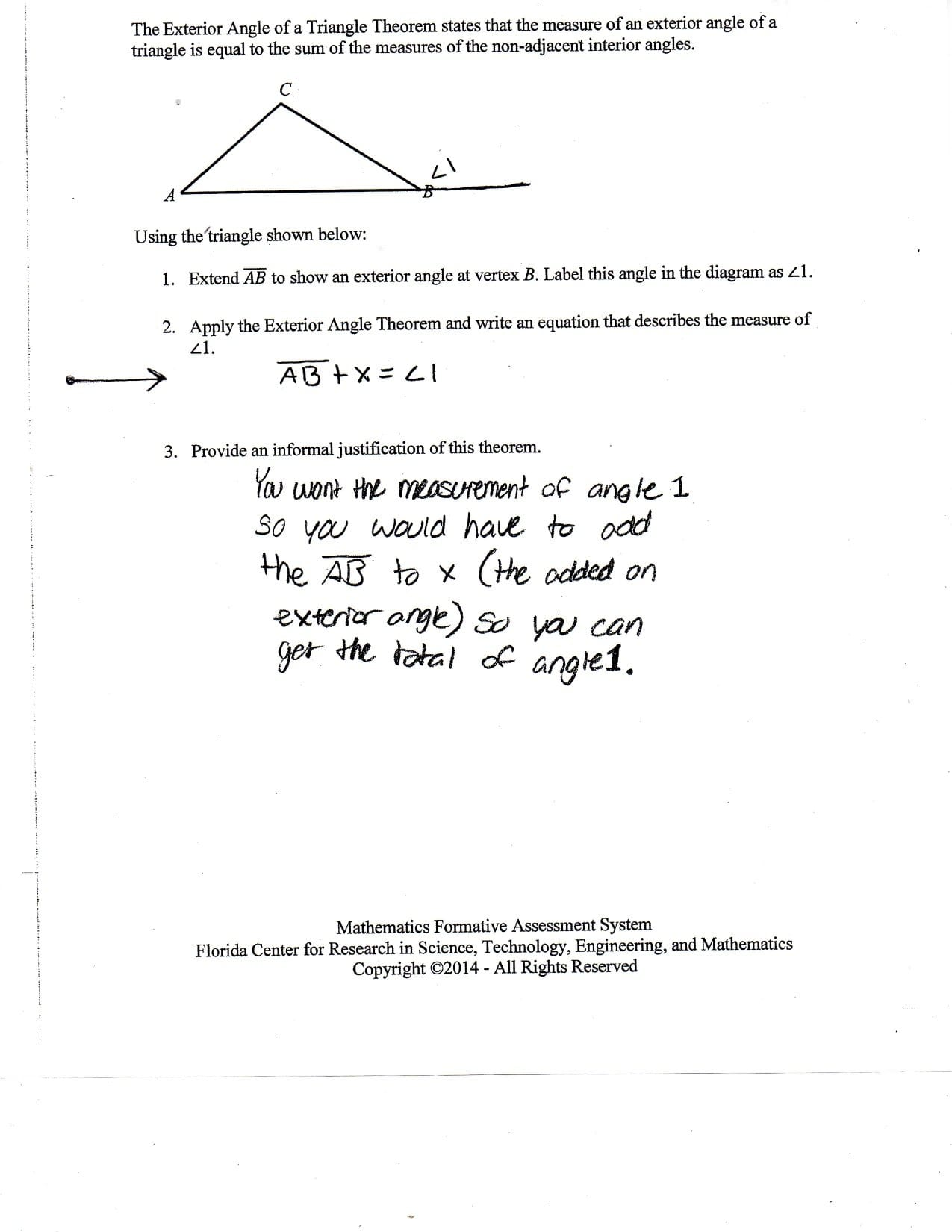 Triangle Sum And Exterior Angle Theorem Worksheet Fraction Within Triangle Sum And Exterior Angle Theorem Worksheet