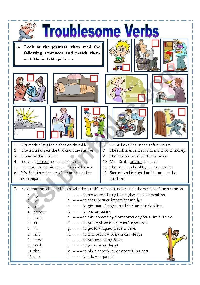 Troublesome Verbs  Esl Worksheetmissola With Regard To Troublesome Verbs Worksheets With Answers