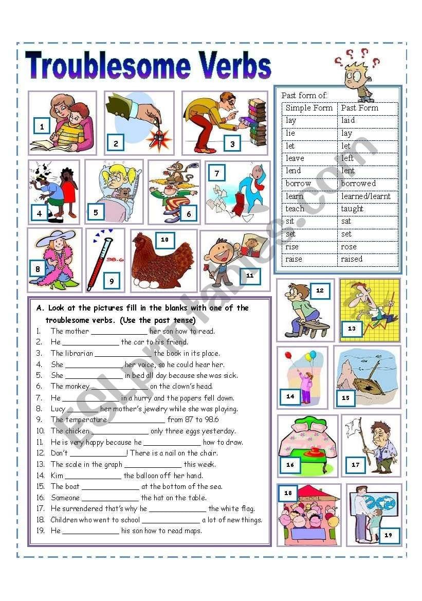 Troublesome Verbs Practice  Esl Worksheetmissola Regarding Troublesome Verbs Worksheets With Answers