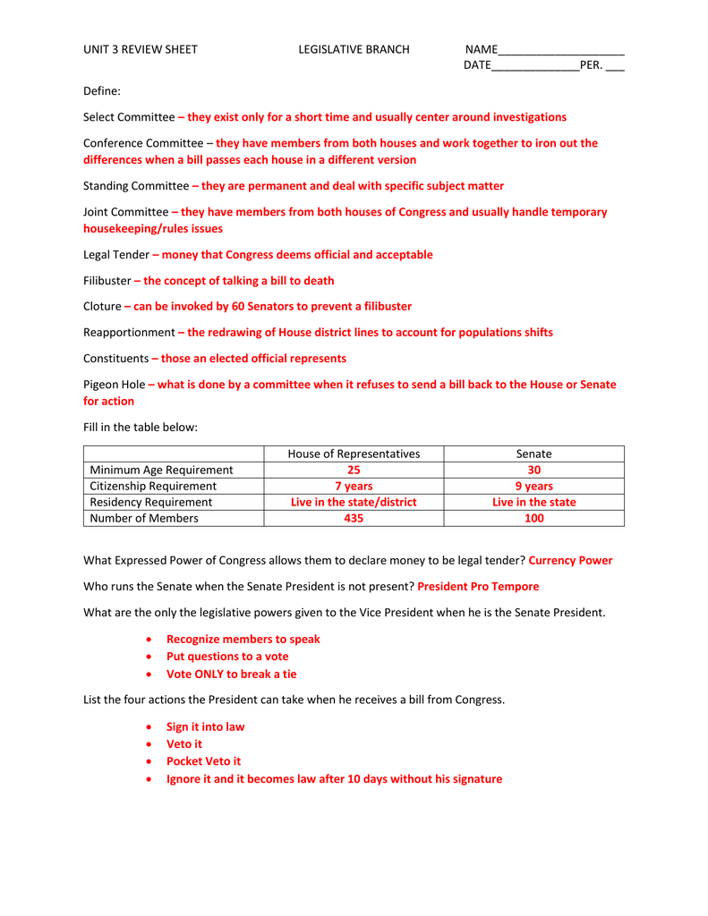 Unit 3 Review Sheet With Answers For Legislative Branch Worksheet Answers