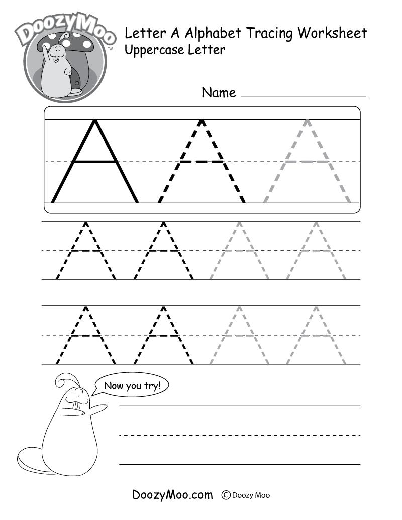 Uppercase Letter Tracing Worksheets Free Printables  Doozy Moo Regarding Free Printable Tracing Alphabet Worksheets