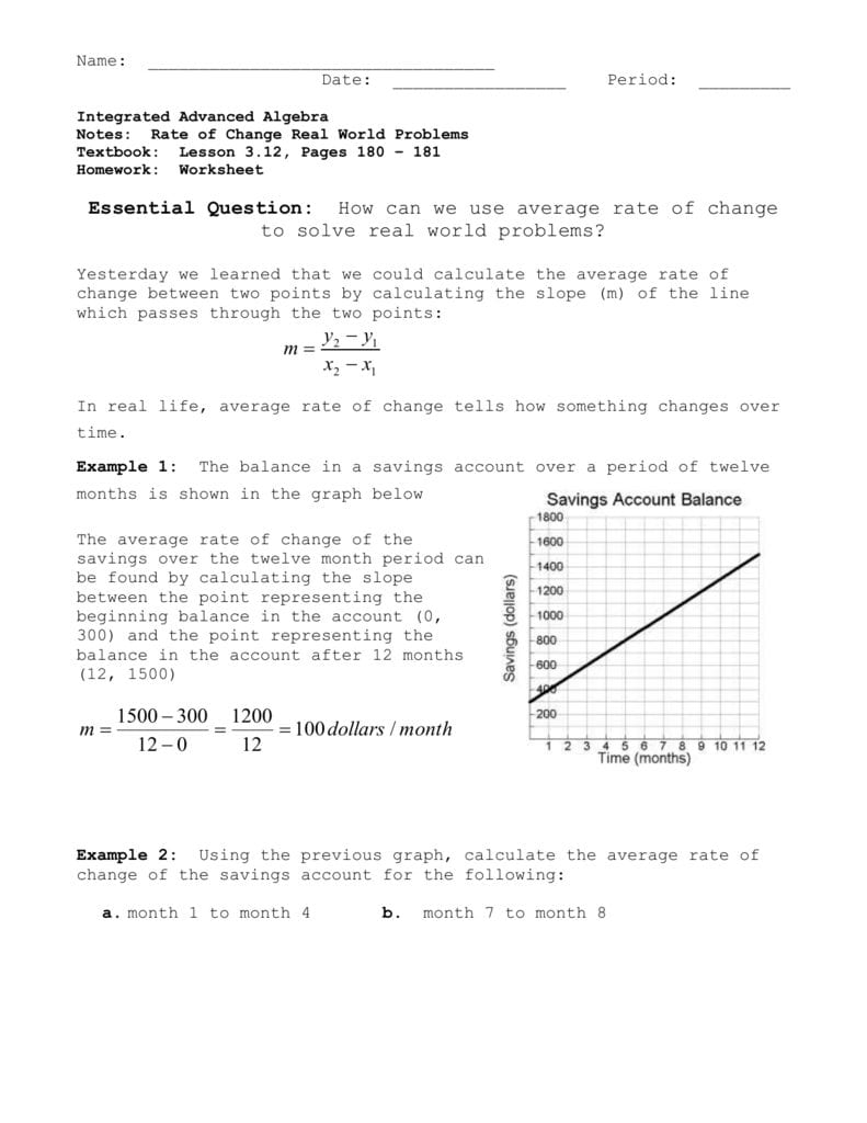Using Average Rate Of Change To Solve Real World Problems For 5 4 Slope As A Rate Of Change Worksheet