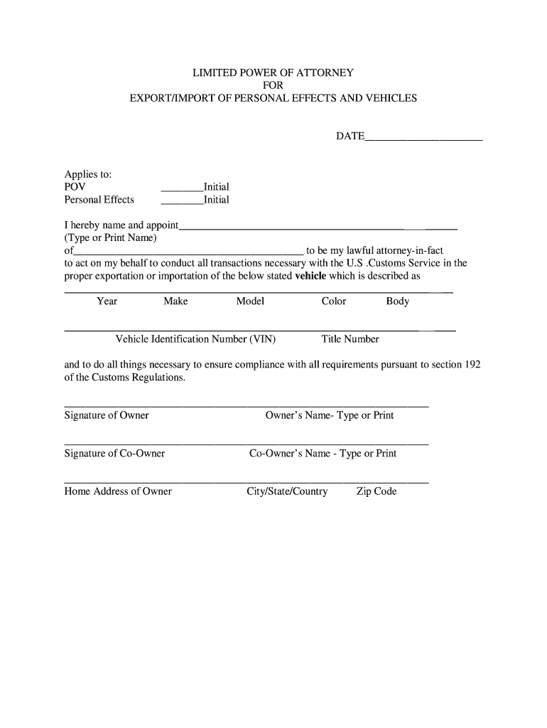 Vehicle Export Power Of Attorney  Fill Online Printable Fillable In U S Customs Vehicle Export Worksheet